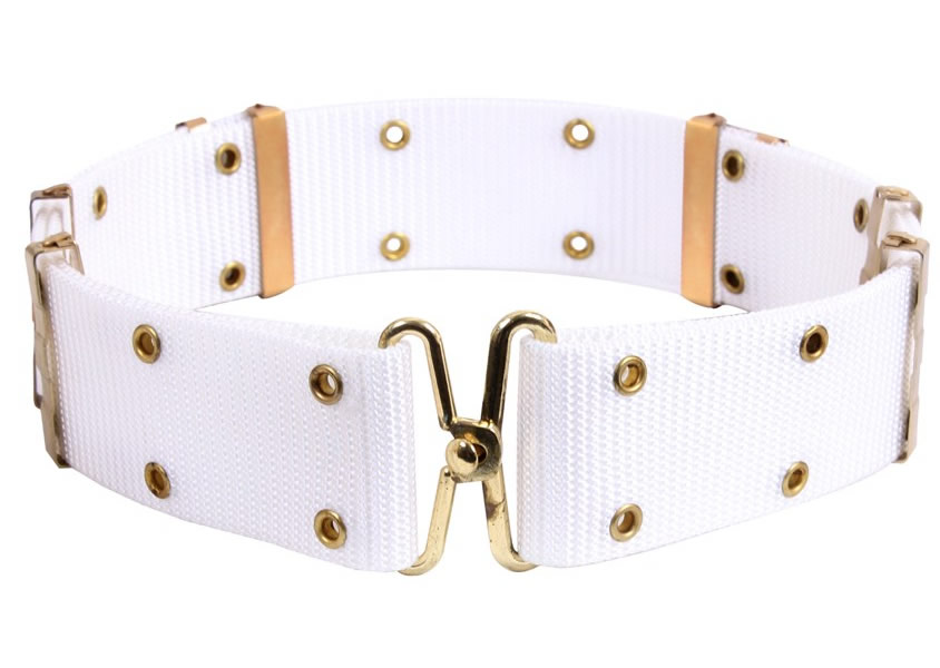 White Pistol Belts with Brass Grommets